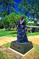 The statue of Queen Kapiolani stands at the entrance to Kapiolani Park near Waikiki.