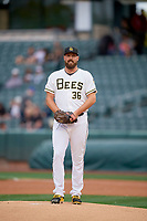 Salt Lake Bees starting pitcher Forrest Snow (36) delivers a pitch to the plate against the Albuquerque Isotopes at Smith's Ballpark on April 24, 2019 in Salt Lake City, Utah. The Isotopes defeated the Bees 5-4. (Stephen Smith/Four Seam Images)