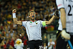 Leipzig, Germany, February 08: Moritz Fuerste #21 of Germany celebrates after scoring during the men bronze medal match between Germany (white) and Iran (red) on February 8, 2015 at the FIH Indoor Hockey World Cup at Arena Leipzig in Leipzig, Germany. Final score 13-2. (Photo by Dirk Markgraf / www.265-images.com) *** Local caption ***
