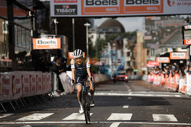 Elizabeth Deignan (GBR) Trek-Segafredo Women wins solo Liege-Bastogne-Liege Femmes 2020, running 135km from Liege to Liege, Belgium. 4th October 2020.<br /> Picture: ASO/Thomas Maheux | Cyclefile<br /> All photos usage must carry mandatory copyright credit (© Cyclefile | ASO/Thomas Maheux)