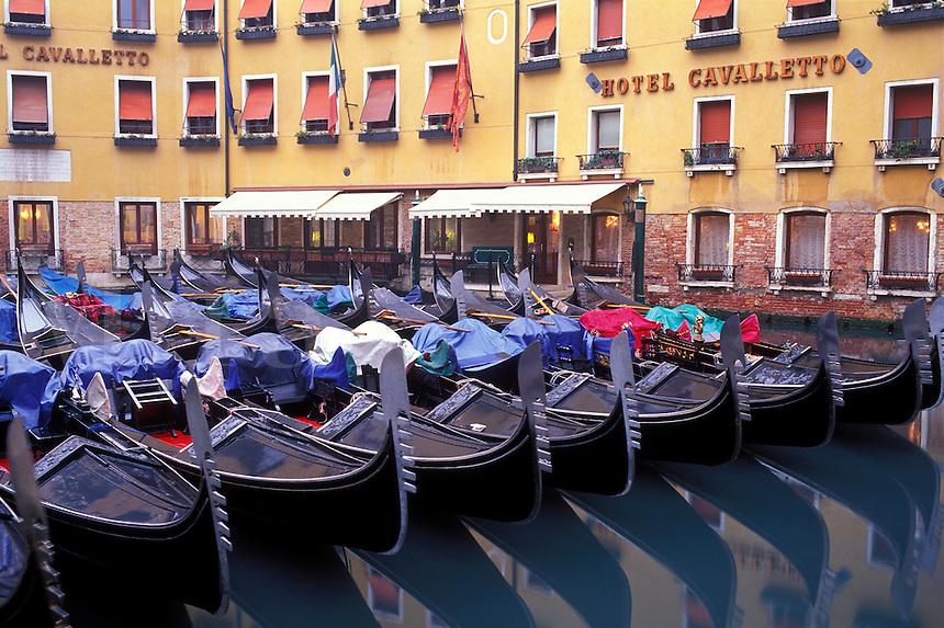 Italy, Venice, Gondolas moored in the Bacino Orseolo