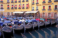 Italy, Venice, Gondolas moored in the Bacino Orseolo