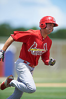 GCL Cardinals center fielder Dylan Carlson (29) runs to first during the second game of a doubleheader against the GCL Marlins on August 13, 2016 at Roger Dean Complex in Jupiter, Florida.  GCL Cardinals defeated GCL Marlins 2-0.  (Mike Janes/Four Seam Images)