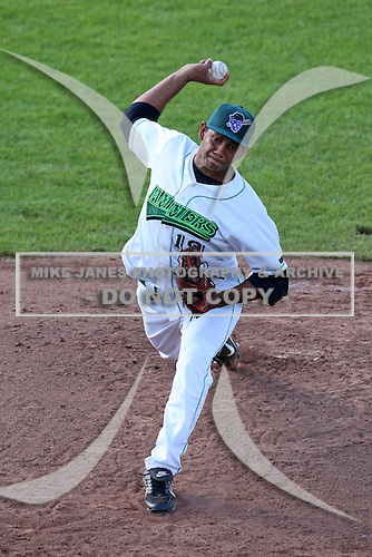 Jamestown Jammers pitcher Alvaro Estevez (19) during a game vs. the Mahoning Valley Scrappers at Russell Diethrick Park in Jamestown, New York June 20, 2010.   Mahoning Valley defeated Jamestown 9-2.  Photo By Mike Janes/Four Seam Images