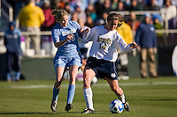 North Carolina Tar Heels midfielder Ali Hawkins (76) and Notre Dame Fighting Irish midfielder Courtney Rosen (14). The North Carolina Tar Heels defeated the Notre Dame Fighting Irish 2-1 during the finals of the NCAA Women's College Cup at Wakemed Soccer Park in Cary, NC, on December 7, 2008. Photo by Howard C. Smith/isiphotos.com