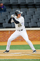 Luke Czajkowski (26) of the Wake Forest Demon Deacons at bat against the Western Carolina Catamounts at Wake Forest Baseball Park on March 26, 2013 in Winston-Salem, North Carolina.  The Demon Deacons defeated the Catamounts 3-1.  (Brian Westerholt/Four Seam Images)