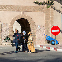 Essaouira, Morocco.  Moroccan Women in Traditional Conservative Dress.