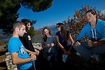 Greek students (from left): Christos Dimitriadis,18, Konstantinos Vartziotis,18, Pandora Papazotou,18, Ioanna Dereka,18, Andreas Nasios,18, relax from their lessons near by the Ioannina lake.