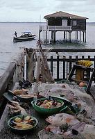 Europe/France/Aquitaine/33/Gironde/Bassin d'Arcachon/Le Canon: Rouquette Marine soupe et plat unique de poissons (congre, lotte, St Pierre, merlu, grondin,)et langoustines, moules, crabes