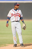 Shortstop Mykal Jones #24 of the Rome Braves on defense against the Hickory Crawdads at  L.P. Frans Stadium May 23, 2010, in Hickory, North Carolina.  The Rome Braves defeated the Hickory Crawdads 5-1.  Photo by Brian Westerholt / Four Seam Images