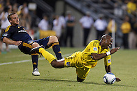 29 MAY 2010:  Emilio Renteria of the Columbus Crew (20) is taken down by Galaxy's #11 Chris Birchall during MLS soccer game between LA Galaxy vs Columbus Crew at Crew Stadium in Columbus, Ohio on May 29, 2010. Galaxy defeated the Crew 2-0.