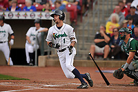 Cedar Rapids Kernels center fielder Aaron Whitefield (1) in action during a game against the Beloit Snappers at Veterans Memorial Stadium on April 8, 2017 in Cedar Rapids, Iowa.  The Snappers won 7-6.  (Dennis Hubbard/Four Seam Images)