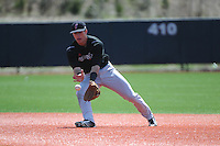 University of Cincinnati Bearcats infielder Devin Wenzel (8) during practice before a game against the Rutgers University Scarlet Knights at Bainton Field on April 19, 2014 in Piscataway, New Jersey. Rutgers defeated Cincinnati 4-1.  (Tomasso DeRosa/ Four Seam Images)