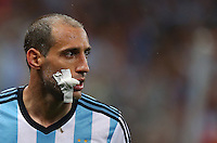 Pablo Zabaleta of Argentina with a dressing to a wound to his mouth