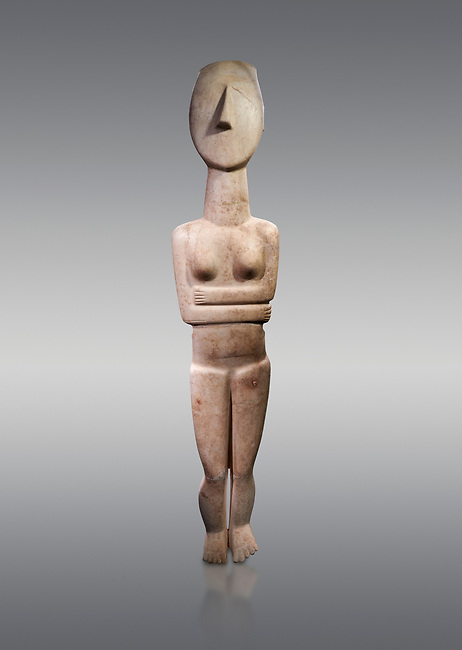 Large Female Cycladic Canonical type, Spedos variety female figurine statuette. Early Cycladic Period II from Syros phase , 1.4m high (2800-2300 BC). Museum of Cycladic Art Athens,  Against Grey Background. <br /> <br /> This impressive Cycladic statue is distinguished by its clear outlines and perfect proportions as well as plasticity of form. A sense of movement is introduced into the staue by its left hip being raised and a slight inclination of the head to the right. This movement gives the statue an air of mysetery and makes it a precursor of the later Archaic statue forms. This sense of movement also sets this Cycladic statue apart from other of the period. It was probably a cult statue and stood at the shrine of a cult goddess.