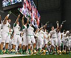 Oct. 5, 2013; The football team sings the Alma Mater after the 37-34 Irish win in the Shamrock Series game against Arizona State.<br /> <br /> Photo by Matt Cashore
