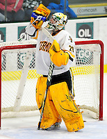 18 October 2009: University of Vermont Catamount goaltender Rob Madore, a Sophomore from Venetia, PA, gets some hydration during the third period against the Boston College Eagles at Gutterson Fieldhouse in Burlington, Vermont. Madore stopped 22 shots as the Catamounts defeated the Eagles 4-1 to open Vermont's America East hockey season. Mandatory Credit: Ed Wolfstein Photo
