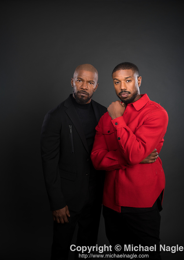 NEW YORK, NY — 9/9/19:  Actors Jamie Foxx, left, and Michael B. Jordan, right, who star in Just Mercy, stand for a portrait on Monday, September 9, 2019 in New York City.  (PHOTOGRAPH BY MICHAEL NAGLE / FOR THE TIMES)