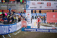 Simon Andreassen (DEN) bunny-hopping the barriers<br /> <br /> Men Juniors Race<br /> <br /> 2015 UCI World Championships Cyclocross <br /> Tabor, Czech Republic