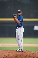 Lakeland Flying Tigers relief pitcher Fernando Perez (28) gets ready to deliver a pitch during a game against the Dunedin Blue Jays on July 31, 2018 at Dunedin Stadium in Dunedin, Florida.  Dunedin defeated Lakeland 8-0.  (Mike Janes/Four Seam Images)