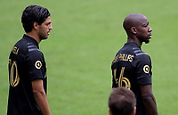 LOS ANGELES, CA - OCTOBER 25: Carlos Vela #10 and Bradley Wright-Phillips #66 of the Los Angeles Football Club during a game between Los Angeles Galaxy and Los Angeles FC at Banc of California Stadium on October 25, 2020 in Los Angeles, California.