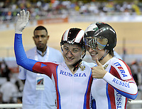 CALI – COLOMBIA – 17-01-2015: Ekaterina Gnidenko y Daria Shmeleva de Rusia, medalla de oro en la prueba de Velocidad Damas en el Velodromo Alcides Nieto Patiño, sede de la III Copa Mundo UCI de Pista de Cali 2014-2015  Ekaterina Gnidenko and Daria Shmeleva of Russia, won he medal gold in the Women´s Sprint Race at the Alcides Nieto Patiño Velodrome, home of the III Cali Track World Cup 2014-2015 UCI. Photos: VizzorImage / Luis Ramirez / Staff.