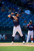 Mississippi Braves Connor Lien (5) at bat during a Southern League game against the Jacksonville Jumbo Shrimp on May 5, 2019 at Trustmark Park in Pearl, Mississippi.  Mississippi defeated Jacksonville 1-0 in ten innings.  (Mike Janes/Four Seam Images)