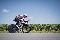 Toms Skujins (LVA/Trek-Segafredo)<br /> <br /> Stage 20 (ITT) from Libourne to Saint-Émilion (30.8km)<br /> 108th Tour de France 2021 (2.UWT)<br /> <br /> ©kramon