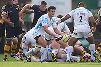 Jonny Arr of Worcester Warriors passes during the Aviva Premiership match between London Wasps and Worcester Warriors at Adams Park on Sunday 7th October 2012 (Photo by Rob Munro)