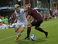 29th August 2021;  Estadio Arechi, Salerno, Campania, Italy;  Serie A Football league, Salernitana versus Roma; Carles Perez of AS Roma beats his defender along the wing