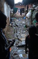 Addis Abeba,Etiopia.Nel cortile della propria casa la fogna a cielo aperto.in the backyard of their house the sewer is open