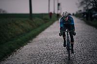 Wout Van Aert (BEL/Vérandas Willems-Crelan) on the cobbles of the Stationsberg<br /> <br /> 73rd Dwars Door Vlaanderen 2018 (1.UWT)<br /> Roeselare - Waregem (BEL): 180km