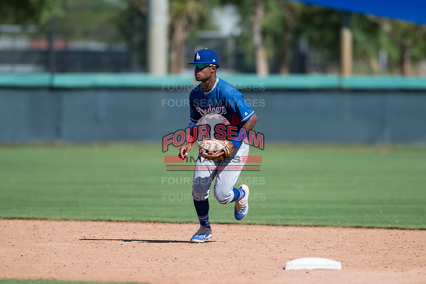 Los Angeles Dodgers shortstop Eddys Leonard (84) during an Instructional League game against the San Diego Padres at Camelback Ranch on September 25, 2018 in Glendale, Arizona. (Zachary Lucy/Four Seam Images)
