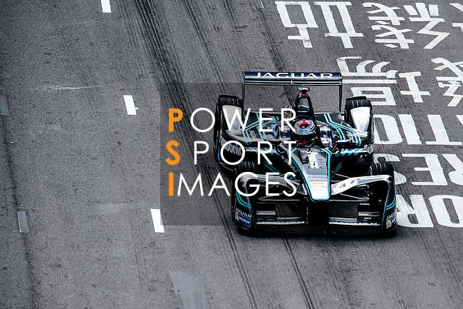 Adam Carroll of Panasonic Jaguar Racing during the first stop of the FIA Formula E Championship HKT Hong Kong ePrix at the Central Harbourfront Circuit on 9 October 2016, in Hong Kong, China. Photo by Marcio Rodrigo Machado / Power Sport Images