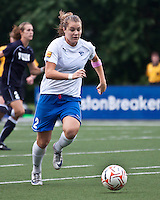 The Boston Breakers beat the New York Fury 2-0 at Dilboy Stadium.  Boston Breakers forward Katie Schoepfer (2) breaks with the ball in center field.