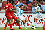 Angel Di Maria of Argentina (C) in action during the International Test match between Argentina and Singapore at National Stadium on June 13, 2017 in Singapore. Photo by Marcio Rodrigo Machado / Power Sport Images