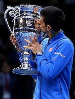 Novak Djokovic of Serbia receives the year end ATP Rankings No.1 Trophy at the ATP World Tour Finals, The O2, London, 2015