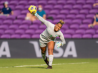 ORLANDO, FL - FEBRUARY 24: Barbara #1 of Brazil throws the ball during a game between Brazil and Canada at Exploria Stadium on February 24, 2021 in Orlando, Florida.
