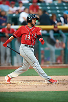 Cristhian Adames (13) of the Albuquerque Isotopes bats against the Salt Lake Bees in Pacific Coast League action at Smith's Ballpark on June 10, 2017 in Salt Lake City, Utah. The Isotopes defeated the Bees 4-2. (Stephen Smith/Four Seam Images)