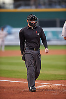 Umpire Lance Seilhamer during a Midwest League game between the Wisconsin Timber Rattlers and the Lansing Lugnuts at Cooley Law School Stadium on May 1, 2019 in Lansing, Michigan. Wisconsin defeated Lansing 2-1 in the second game of a doubleheader. (Zachary Lucy/Four Seam Images)