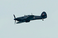 BNPS.co.uk (01202 558833)<br /> Pic: Graham Hunt/BNPS<br /> Date: 2nd September 2021.<br /> <br /> The Hurricane from the Battle of Britain memorial flight in action on day 1 of Bournemouth Air Festival in Dorset on a warm overcast day.
