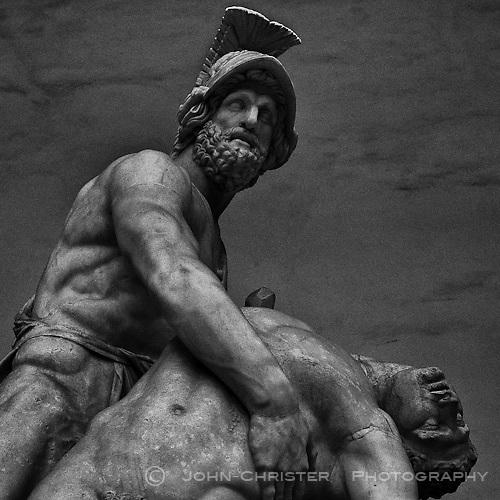 a classic masterpiece in marble at the Piazza della Signoria by Loggia dei Lanzi