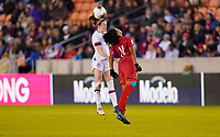 HOUSTON, TX - JANUARY 31: Lindsey Horan #9 of the United States heads a ball during a game between Panama and USWNT at BBVA Stadium on January 31, 2020 in Houston, Texas.