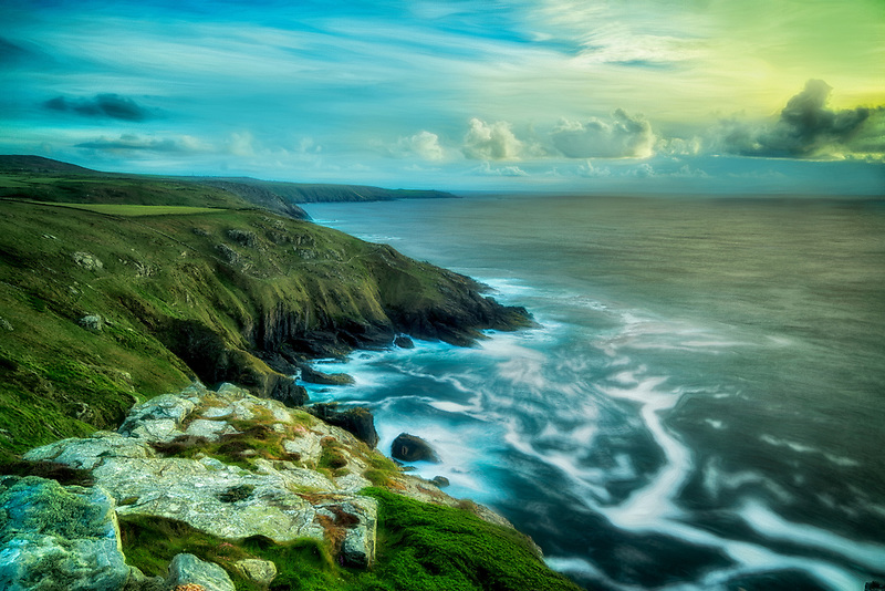 View from Cornwall coast  trail near Gurnard's Head. England