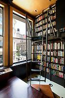 black wall bookcase