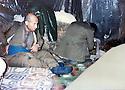 Iraq 1988 <br /> Ibrahim Pchike, peshmerga, in a shelter near Chemti, closed to the Turkish border   <br /> Irak 1988 <br /> Ibrahim Pchike, peshmerga, dans un abri a cote du village de Chemti proche de la frontiere turque