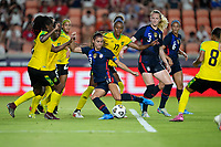 HOUSTON, TX - JUNE 13: Alex Morgan #13 of the United States takes a shot during a game between Jamaica and USWNT at BBVA Stadium on June 13, 2021 in Houston, Texas.
