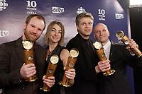 Montreal (Qc) Canada - March 9, 2008 -<br /> <br /> Stephane Lafleur (L),<br /> Kim McCraw, Producer (M-L)<br /> Real Bosse (M-R)<br /> Luc Dery, Producer (R)<br /> at the 10th Jutras Gala held in Montreal.<br /> <br /> Real Bosse, won the best supporing actor JUTRAS and<br /> Stephane Lafleur won the Best Scenario, best filmmaking and best movie JUTRAS for CONTINENTAL ; UN FILM SANS FUSIL.<br /> <br /> photo :(c)  Images Distribution