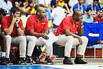Angola's basketball coach Carlos Dinis during the first match of the preparation for the Rio Olympic Game at Coliseum Burgos. July 12, 2016. (ALTERPHOTOS/BorjaB.Hojas)
