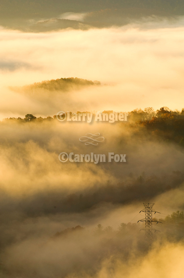 Sunrise fog from Forge Mountain over the Blue Ridge Mountains and Saluda Mountains, North Carolina